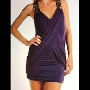 NWT BCBG MAXAZRIA Navy Embellished Dress XXS $318